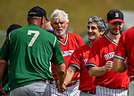 15 September 2019: Burlington Mayor and Cardinal infielder Miro Weinberger congratulates members of the Waterbury Warthogs at Burlington High School in Burlington, Vermont. The Warthogs edged out the Cardinals 2-1 in post season play. Mandatory Credit: Ed Wolfstein Photo *** RAW (NEF) Image File Available ***
