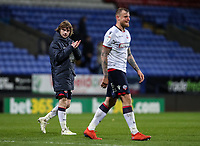 Bolton Wanderers' Luca Connell applauds the home supporters as David Wheater looks on <br /> <br /> Photographer Andrew Kearns/CameraSport<br /> <br /> The EFL Sky Bet Championship - Bolton Wanderers v Middlesbrough -Tuesday 9th April 2019 - University of Bolton Stadium - Bolton<br /> <br /> World Copyright © 2019 CameraSport. All rights reserved. 43 Linden Ave. Countesthorpe. Leicester. England. LE8 5PG - Tel: +44 (0) 116 277 4147 - admin@camerasport.com - www.camerasport.com