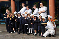 15-9-08 DINGLE;  Dingle Chefs, Martin Bealin, Sean Roche, Michael Murphy, Jean Marie Vaireaux and Noel Enright chase some of the kids at the launch of the  forthcoming Dingle Food &amp; Drink Festival, which takes place from the 3 &ndash; 5 October in Dingle National School on Monday.<br /> The food festival promises to be a mecca for food lovers of all ages.   Highlights to tickle the tastebuds include a food trail which will take in over 24 locations around the town offering tasters of everything from oysters and scallops to traditional mutton pies and fine wines.  There will be tutored tastings and chef demonstrations throughout the weekend, and a cook off between Dara O&rsquo;Cinn&eacute;ide and Coman Goggins, compered by Eamon Horan, is guaranteed to ensure that there is also plenty of the craic that Dingle is also justly famous for.  The Farmers Market has been expanded throughout the town, and promises to be the biggest food market in Ireland, with producers from all over the country showcasing their wares.<br /> Picture by Don MacMonagle <br /> <br /> <br /> &copy; Photo by Don MacMonagle - macmonagle.com<br /> info@macmonagle.com