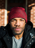 Olympic Gold champion wrestler Jordan Burroughs (cq) at home in Lincoln, Nebraska, Friday, February 12, 2015. Burroughs is training for the upcoming 2016 olympic games in Rio de Janeiro, Brazil where he hopes to win another gold medal. <br /> <br /> Photo by Matt Nager