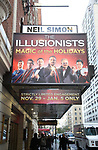 """Theatre Marquee unveiling for  """"The Illusionists - Magic of the Holidays"""" at the Neil Simon Theatre on November 19, 2019 in New York City."""