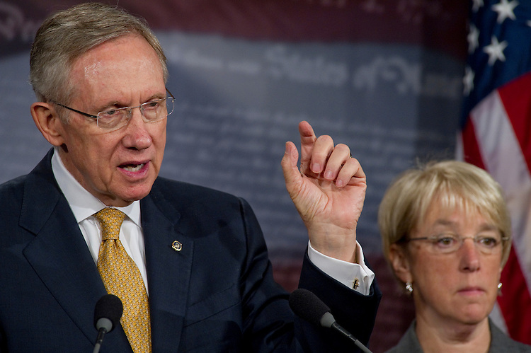 "WASHINGTON, DC - June 24: Senate Majority Leader Harry Reid, D-Nev., and Senate Democratic Conference Secretary Patty Murray, D-Wash., during a news conference on tax extenders. The Senate may try again Thursday to advance a package of tax and benefit extensions, but Majority Leader Harry Reid held out little hope that the effort will succeed. ""I've come to the conclusion that the other side doesn't want a solution,"" Reid, D-Nev., said on the floor Thursday morning. He blamed Republicans for killing a long list of now-expired tax and benefit programs that the bill (HR 4213) would revive. ""The time to decide is closing in on us. But it's not over yet. It's not too late to do what is right.""  (Photo by Scott J. Ferrell/Congressional Quarterly)"