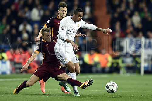 08.03.2016 Estadio Santiago Bernabeu, Madrid, Spain. UEFA Champions League Real Madrid CF versus AS Roma. Last 16 second leg match in Madrid.  Danilo slide tackles Lucas Digne