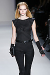 Theres Alexandersson walks the runway in a Nicole Miller Fall 2011 outfit, during Mercedes-Benz Fashion Week.