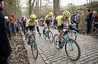 Sep Vanmarcke (BEL/LottoNL-Jumbo) is piloted by teammates Jos van Emden (NLD/LottoNL-Jumbo) & Robert Wagner (DEU/LottoNL-Jumbo) over the Taaienberg cobbles<br /> <br /> Omloop Het Nieuwsblad 2015