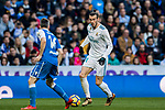 Gareth Bale (R) of Real Madrid fights for the ball with Luis Carlos Correia Pinto, Luisinho, of RC Deportivo La Coruna during the La Liga 2017-18 match between Real Madrid and RC Deportivo La Coruna at Santiago Bernabeu Stadium on January 21 2018 in Madrid, Spain. Photo by Diego Gonzalez / Power Sport Images