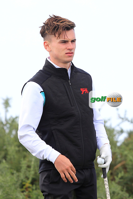 Conor Gough  (GB&I) on the 13th tee during the preview at the Walker Cup, Royal Liverpool Golf CLub, Hoylake, Cheshire, England. 06/09/2019.<br /> Picture Thos Caffrey / Golffile.ie<br /> <br /> All photo usage must carry mandatory copyright credit (© Golffile | Thos Caffrey)