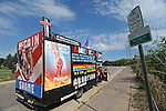 An anti-abortion activist readies his truck a few miles from the XCel Center, site of the Republican National Convention in Saint Paul, Minnesota on August 31, 2008.