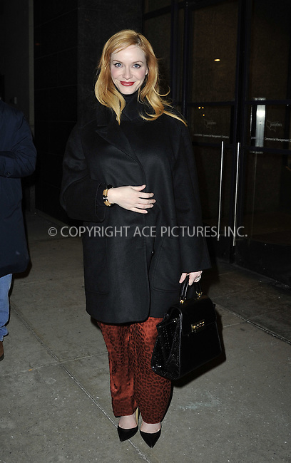 WWW.ACEPIXS.COM<br /> <br /> March 23 2015, New York City<br /> <br /> Actress Christina Hendricks leaves a taping of 'Watch What Happens Live' on March 23 2015 in New York City<br /> <br /> By Line: Curtis Means/ACE Pictures<br /> <br /> <br /> ACE Pictures, Inc.<br /> tel: 646 769 0430<br /> Email: info@acepixs.com<br /> www.acepixs.com