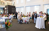 Friends, family, alumni, students, faculty and staff gather in Johnson Hall classroom 303 for the dedication of The Roger Boesche Classroom on Oct. 21, 2018. The dedication included a ribbon cutting. The gathering then went downstairs to the McKinnon Center for Global Affairs to watch a video of daughter Kelsey Boesche and to listen to remarks.<br /> Longtime Occidental College politics professor Roger Boesche, revered by generations of Oxy students and credited by President Barack Obama '83 for sparking his interest in politics, passed away on May 23, 2017.<br /> (Photo by Marc Campos, Occidental College Photographer)