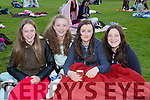 Julie Sheehan, Aoife Kissane, Laura O'Sullivan and Sarah Sheehan enjoying the Kerry Film Festival Open air movie in Muckross house gardens on Friday night