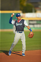 Lexington Legends shortstop Cristian Perez (15) on defense against the West Virginia Power at Appalachian Power Park on June 7, 2018 in Charleston, West Virginia. The Power defeated the Legends 5-1. (Brian Westerholt/Four Seam Images)