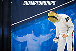 UNIVERSITY PARK, PA - MARCH 25: Ariel Simmons of Notre Dame University reacts after scoring a point against Marc Blais-Antoine of Ohio State University during the semifinals of the epee competition during the Division I Men's Fencing Championship held at the Multi-Sport Facility on the Penn State University campus on March 25, 2018 in University Park, Pennsylvania. (Photo by Doug Stroud/NCAA Photos via Getty Images)