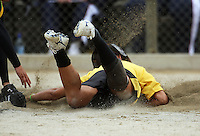 Wellington's Charlotte Pointon is unable to make the home base during round two of the National Women's Softball Championships at Hataitai Park, Wellington, NewZealand on Sunday 2 February 2009. Photo: Dave Lintott / lintottphoto.co.nz