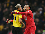 Watford's Heurelho Gomes celebrates at the final whistle with Valon Behrami during the Premier League match at Vicarage Road Stadium, London. Picture date December 10th, 2016 Pic David Klein/Sportimage