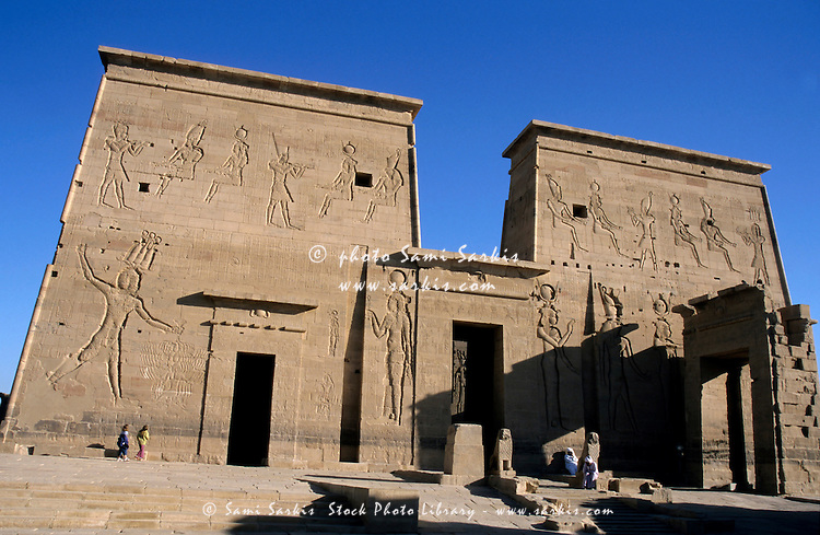 Stone walls of the Temple of Isis First Pylon at Philae, Egypt.