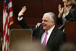 Nevada Gov. Steve Sisolak waves to lawmakers before delivering his State of the State address to the Legislature in Carson City, Nev., on Wednesday, Jan. 16, 2019. (Cathleen Allison/Las Vegas Review-Journal)
