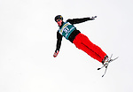 16 January 2009: Nicolas Thepaut from France performs aerial acrobatics during the FIS Freestyle World Cup warm-ups at the Olympic Ski Jumping Facility in Lake Placid, NY, USA. Mandatory Photo Credit: Ed Wolfstein Photo. Contact: Ed Wolfstein, Burlington, Vermont, USA. Telephone 802-864-8334. e-mail: ed@wolfstein.net