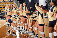 11 September 2011:  FIU outside hitter Marija Prsa (10) high-fives with teammates during player introductions.  The FIU Golden Panthers defeated the Florida A&M University Rattlers, 3-0 (25-10, 25-23, 26-24), at U.S Century Bank Arena in Miami, Florida.
