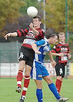 KFC Izegem - KVK Ieper..Wim Vandoorne (Izegem - links) in duel met Kevin Buyck (ieper - rechts)..foto DAVID CATRY / VDB