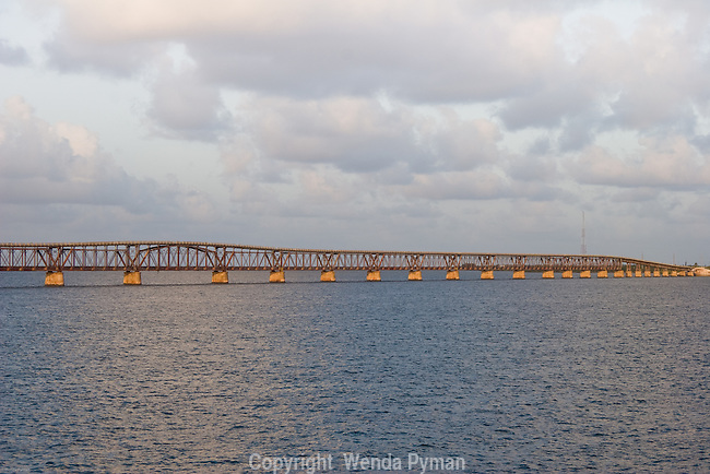 The old Flagler Railroad Bridge was destroyed during the 1935 hurricane.