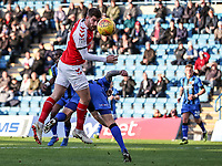 Fleetwood Town's Ched Evans heads at goal<br /> <br /> Photographer Andrew Kearns/CameraSport<br /> <br /> The EFL Sky Bet League One - Gillingham v Fleetwood Town - Saturday 3rd November 2018 - Priestfield Stadium - Gillingham<br /> <br /> World Copyright © 2018 CameraSport. All rights reserved. 43 Linden Ave. Countesthorpe. Leicester. England. LE8 5PG - Tel: +44 (0) 116 277 4147 - admin@camerasport.com - www.camerasport.com