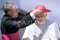 "Pope Benedict XVI wear his ""saturno"" hat before the weekly general audience on June 16, 2010 in St Peter's square at the Vatican"