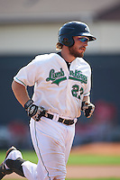 Clinton LumberKings catcher Adam Martin (27) runs the bases after hitting a home run during a game against the Great Lakes Loons on August 16, 2015 at Ashford University Field in Clinton, Iowa.  Great Lakes defeated Clinton 3-2.  (Mike Janes/Four Seam Images)