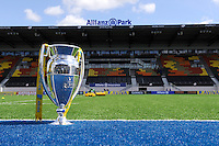20130512 Copyright onEdition 2013©.Free for editorial use image, please credit: onEdition..The Premiership Trophy on display before the semi final match between Saracens and Northampton Saints at Allianz Park on Sunday 12th May 2013 (Photo by Rob Munro)..For press contacts contact: Sam Feasey at brandRapport on M: +44 (0)7717 757114 E: SFeasey@brand-rapport.com..If you require a higher resolution image or you have any other onEdition photographic enquiries, please contact onEdition on 0845 900 2 900 or email info@onEdition.com.This image is copyright onEdition 2013©..This image has been supplied by onEdition and must be credited onEdition. The author is asserting his full Moral rights in relation to the publication of this image. Rights for onward transmission of any image or file is not granted or implied. Changing or deleting Copyright information is illegal as specified in the Copyright, Design and Patents Act 1988. If you are in any way unsure of your right to publish this image please contact onEdition on 0845 900 2 900 or email info@onEdition.com