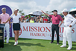 Suzann Pettersen (left) jokes with Michael Douglas and Gary Player (right) at the 1st hole during the World Celebrity Pro-Am 2016 Mission Hills China Golf Tournament on 22 October 2016, in Haikou, China. Photo by Marcio Machado / Power Sport Images