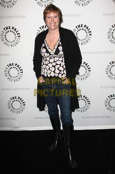 ELIZABETH SARNOFF .27th Annual PaleyFest Presents the television show 'Lost' held At The Saban Theatre, Beverly Hills, California, USA, 27th February 2010..arrivals full length black and white print top cardigan jeans boots knee high tucked in purple floral .CAP/ADM/KB.©Kevan Brooks/Admedia/Capital Pictures