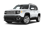Stock pictures of low aggressive front three quarter view of a 2015 JEEP Renegade Latitude Door Sport Utility Vehicle Low Aggressive