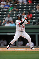 Center fielder Luis Alexander Basabe (19) of the Greenville Drive bats in a game against the Kannapolis Intimidators on Thursday, August 18, 2016 at Fluor Field at the West End in Greenville, South Carolina. (Tom Priddy/Four Seam Images)