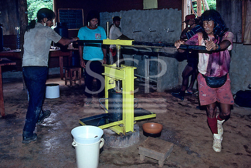 A-Ukre Village, Brazil. Kayapo Indians using a Brazil oil extractor press.