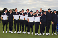 GB&I Team on the 18th green during Day 2 Singles at the Walker Cup, Royal Liverpool Golf CLub, Hoylake, Cheshire, England. 08/09/2019.<br /> Picture Thos Caffrey / Golffile.ie<br /> <br /> All photo usage must carry mandatory copyright credit (© Golffile | Thos Caffrey)