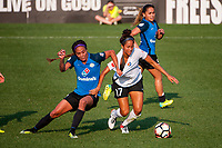 Kansas City, MO - Wednesday August 16, 2017: Sydney Leroux Dwyer, Dominique Richardson during a regular season National Women's Soccer League (NWSL) match between FC Kansas City and Sky Blue FC at Children's Mercy Victory Field.