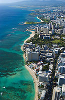 Aerial view looking from Waikiki towards Ala Moana Beach Park and Honolulu International airport