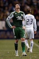 Portland Timbers forward Kenny Cooper (33) looks to the sky for help. The LA Galaxy defeated the Portland Timbers 3-0 at Home Depot Center stadium in Carson, California on  April  23, 2011....