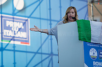 """Giorgia Meloni MP (Leader of Fratelli d'Italia party, Minister of Youth in Silvio Berlusconi IV Government, 2008-2011).<br /> <br /> Rome, 19/10/2019. Today, tens thousands of people (200,000 for the organisers, 50,000 for the police) gathered in Piazza San Giovanni to attend the national demonstration """"Orgoglio Italiano"""" (Italian Pride) of the far-right party Lega (League) of Matteo Salvini. The demonstration was supported by Silvio Berlusconi's party Forza Italia and Giorgia Meloni's party Fratelli d'Italia (Brothers of Italy, right-wing).  <br /> The aim of the rally was to protest against the Italian coalition Government (AKA Governo Conte II, Conte's Second Government, Governo Giallo-Rosso, 1.) lead by Professor Giuseppe Conte. The 66th Government of Italy is a coalition between Five Star Movement (M5S, 2.), Democratic Party (PD – Center Left, 3.), and Liberi e Uguali (LeU – Left, 4.), these last two parties replaced Lega / League as new members of a coalition based on Parliamentarian majority as stated in the Italian Constitution. The Governo Conte I (Conte's First Government, 5.) was 14-month-old when, between 8 and 9 of August 2019, collapsed after the Interior Minister Matteo Salvini withdrew his euroskeptic, anti-migrant, right-wing Lega / League (6.) from the populist coalition in a pindaric attempt (miserably failed) to trigger a snap election.<br /> <br /> Footnotes & Links:<br /> 1. http://bit.do/feK6N<br /> 2. http://bit.do/e7JLx<br /> 3. http://bit.do/e7JKy<br /> 4. http://bit.do/e7JMP<br /> 5. http://bit.do/e7JH7<br /> 6. http://bit.do/eE7Ey<br /> https://www.leganord.org<br /> http://bit.do/feK9X (Source, TheGuardian.com)<br /> Reportage: """"La Fabbrica Della Paura"""" (The Factory of Fear): http://bit.do/feLcy (Source Report, Rai.it - ITA)<br /> (Update) Reportage: """"La Fabbrica Social Della Paura"""" (The Social Network Factory of Fear): http://bit.do/fe8Pn (Source Report, Rai.it - ITA)"""