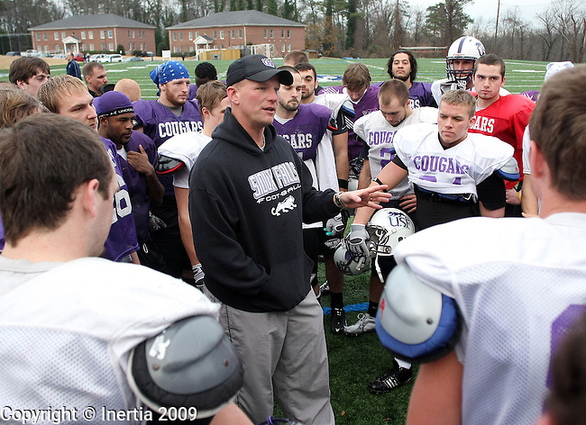 ROME, GA - DECEMBER 17: University of Sioux Falls head coach Kalen DeBoer talks to his players following practice on Thursday afternoon, Dec. 17 at Shorter College in Rome, Georgia. The University of Sioux Falls Cougars are in Rome to play Lindenwood University Lions for the NAIA Football Championship on Saturday. (Photo by Dave Eggen/Inertia)