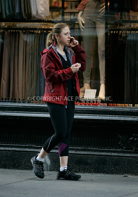 WWW.ACEPIXS.COM . . . . . ....EXCLUSIVE - ALL ROUNDER....Chelsea Clinton looks sporty as she walks and talks on the phone in Chelsea on April 20 2011 in New York City....April 20 2011....Please byline: CURTIS MEANS - ACE PICTURES.... *** ***..Ace Pictures, Inc:  ..Philip Vaughan (212) 243-8787 or (646) 679 0430..e-mail: info@acepixs.com..web: http://www.acepixs.com