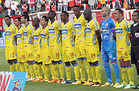BOGOTA -COLOMBIA- 26 -10--2013. Formacion del Deportivo Pasto frente al Independiente Santa Fe  , encuentro de la fecha dieciseisava de  la  Liga Postobon segundo semestre jugado en el estadio de Techo  / Formation of Deportivo Pasto against Independiente Santa Fe, date sixteenth meeting of the Postobon League second half played in the Techo . stadium  Action game for the match between the teams Independiente Santa Fe and Deportivo Pasto, date sixteenth meeting of the Postobon  League second half played in the Techo stadium .Photo: VizzorImage / Felipe Caicedol / Staff