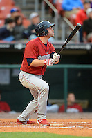 Lehigh Valley IronPigs catcher Steven Lerud #9 during the second game of a double header against the Buffalo Bisons on June 7, 2013 at Coca-Cola Field in Buffalo, New York.  Lehigh Valley defeated Buffalo 4-0.  (Mike Janes/Four Seam Images)