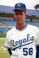 Kansas City Royals pitcher Joel Johnston (58) during spring training circa 1991at Baseball City Stadium in Davenport, Florida.  (MJA/Four Seam Images)