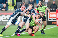 Picture by Allan McKenzie/SWpix.com - 11/05/2017 - Rugby League - Ladbrokes Challenge Cup - Featherstone Rovers v Halifax RLFC - The LD Nutrition Stadium, Featherstone, England  - Halifax's James Woodburn Hall is tackled by Featherstone's Anthony Thackeray & Richard Moore.