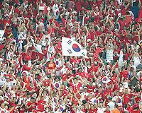 Korean fans after their goal. The Korea Republic and France played to a 1-1 tie in their FIFA World Cup Group G match at the Zentralstadion, Leipzig, Germany, June 18, 2006.