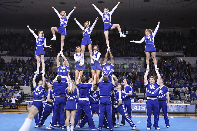 UK cheerleaders perform their national championship routine during halftime of the UK vs. LSU women's basketball game in Memorial Coliseum in Lexington, Ky., on Sunday, February, 2, 2014. UK beat LSU 63-56 Photo by Jonathan Krueger   Staff