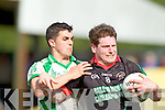 Mike Burke Milltown-Castlemaine in action against Brian Costello Saint Brendans in the First Round of the Kerry Senior Football Championship at Milltown on Sunday.