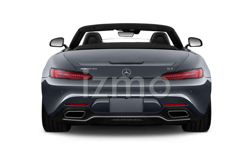 Straight rear view of a 2018 Mercedes Benz AMG GT base 2 Door Roadster stock images