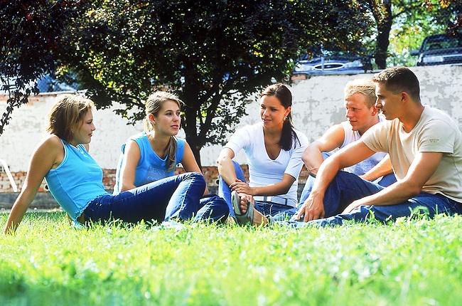 Couples d'amis discutant dans un parc *** Couples of friends discussing in a park.